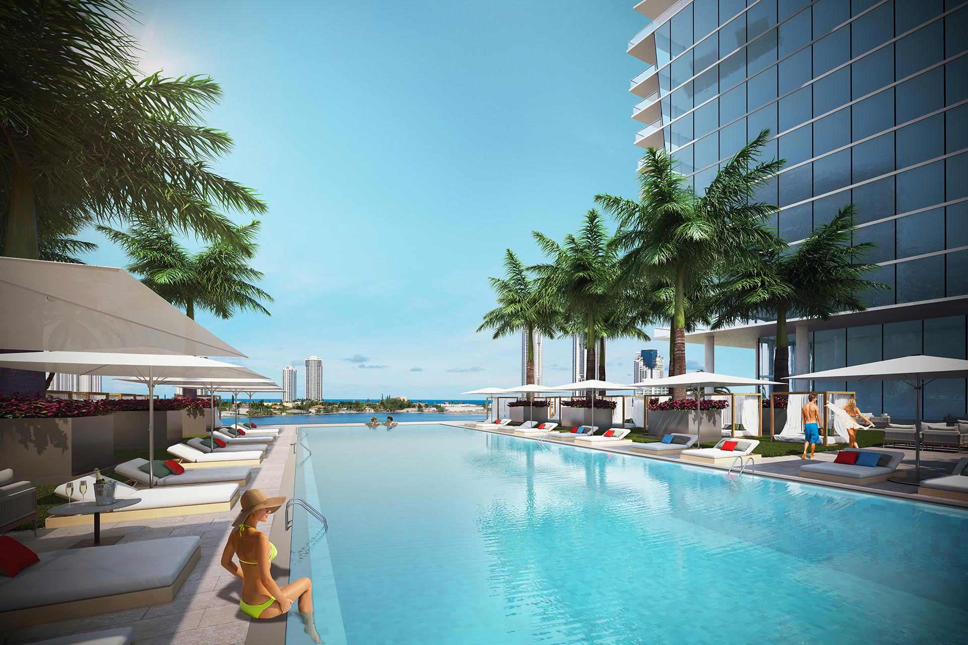 prive at island estates luxury pool deck