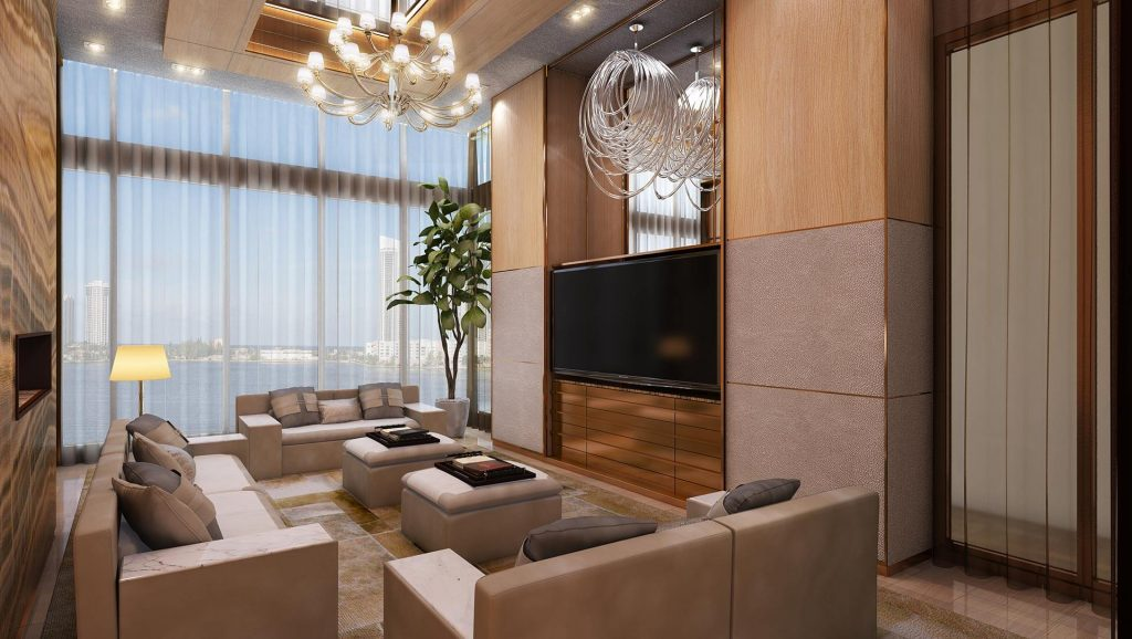 prive at island estates media lounge